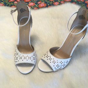 LC Lauren Conrad Floral cut out heeled sandals